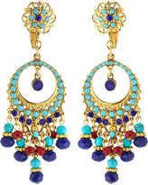 Jose & Maria Barrera Austrian Crystal Filigreed Hoop Drop Earrings