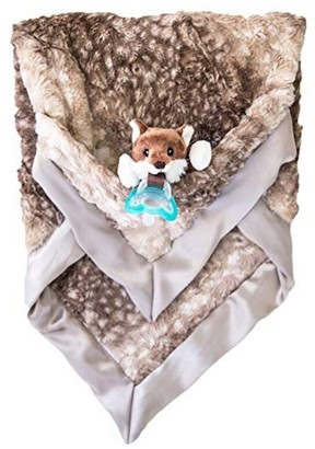 Zalamoon Luxie Pocket Plush Blanket with RaZbaby RaZ-Buddy JollyPop Pacifier - Fawn with Pepper Fox