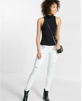 Express lace-up side mock neck tank