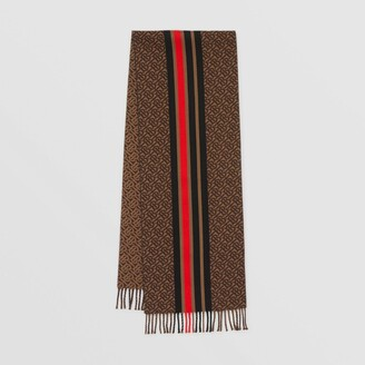 Burberry Striped Monogram Wool Cotton Jacquard Scarf