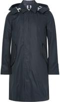 Burberry Waxed Cotton-blend Gabardine Hooded Raincoat - Navy