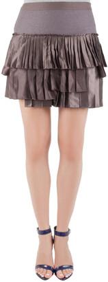 Roberto Cavalli Brown Pleated Tiered Mini Skirt M