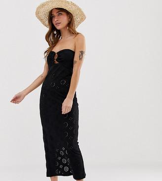 Asos DESIGN Petite maxi bandeau broderie sundress-Black