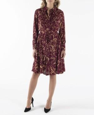 Nanette Lepore Long Sleeve Pintuck Shirtdress with Belt