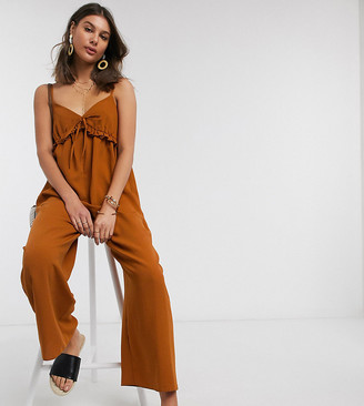 Asos Tall ASOS DESIGN Tall cami smock jumpsuit with frill in rust