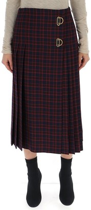 Burberry D Ring Checkered Pleated Kilt
