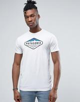 Patagonia Fitz Roy Logo T-shirt In White Marl