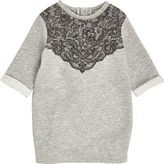 River Island Mini girls grey lace jersey dress