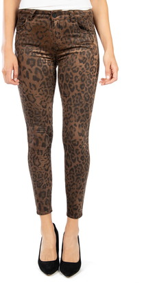 KUT from the Kloth Connie Leopard Print High Waist Cotton Blend Ankle Skinny Pants