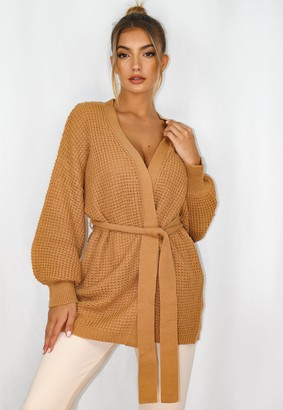 Missguided Petite Camel Balloon Sleeve Belted Cardigan