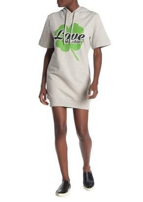 Love Moschino Clover Logo Print Hoodie Sweatshirt Dress