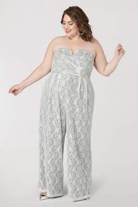 Marée Pour Toi Maree Pour Toi The Silver Lace Magic Jumpsuit Size 12 Polyester/Rayon
