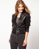 Urban Code Cropped Leather Jacket