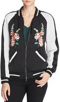 Aqua Floral Embroidered Bomber Jacket