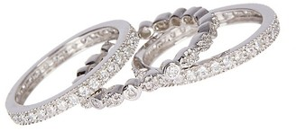 Sterling Forever 3-Row Crystal and Sterling Silver Band Ring