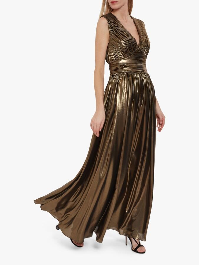 Thumbnail for your product : Gina Bacconi Treva Metallic Chiffon Maxi Dress, Gold