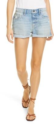 Frame Le Grand Garcon Distressed High Waist Denim Shorts