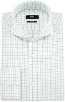 HUGO BOSS Jery Slim-Fit Jacquard-Check Dress Shirt, White/Green