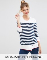 ASOS Maternity - Nursing ASOS Maternity NURSING Wrap Sweater in Stripe with 3/4 sleeve