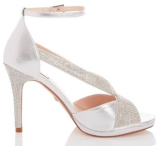 Dorothy Perkins Womens Quiz Silver Diamante Strap Sandals, Silver