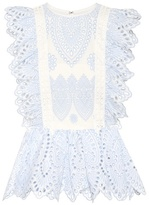 Self-Portrait Embroidered Frill Top