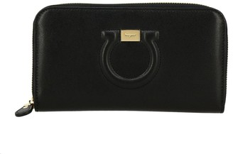 Salvatore Ferragamo Wallet Gancio City By Large Continental Zip Around In Leather