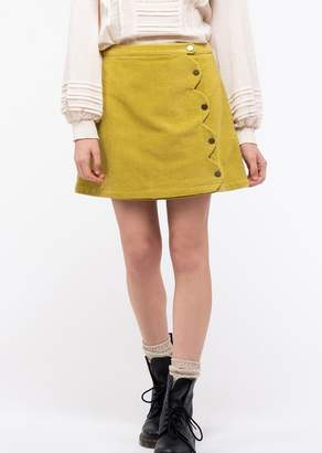 Blu Pepper Scallop Button Up Mini Skirt