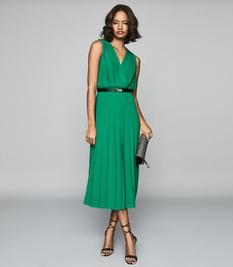 Reiss MARIONA PLEATED MIDI DRESS Green