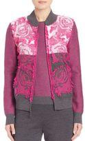 St. John Floral Knit Blouson Jacket