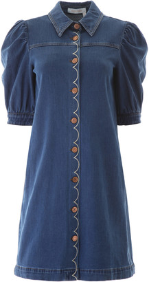 See by Chloe Scallop Embroidery Denim Dress