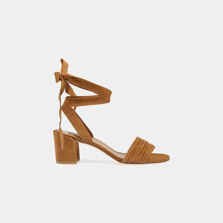 Stuart Weitzman Swifty Suede Ankle-Tie Sandal