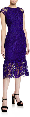 Shoshanna Callie Floral Lace Midi Dress