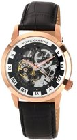 Vince Camuto Men's Automatic Watch with Black Dial Analogue Display and Black Leather Strap VC/1007BKRG
