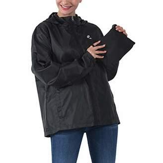 Common District Womens Girls Waterproof Lightweight Rain Jacket Active Outdoor Hooded Raincoat XS