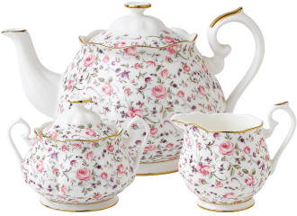 Royal Albert Rose Confetti Teapot/Sugar/Creamer Set