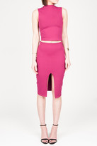 Donna Mizani Cropped Mock Top In Berry
