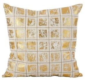 Saro Lifestyle Metallic Grid Fringe Design Cotton Down Filled Throw Pillow