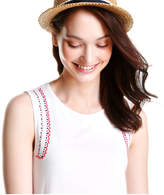 Joe Fresh Women's Embroidered Tank, White (Size XS)