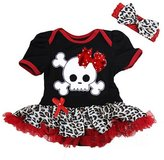 Ameda Baby Polka Dots Bow Skull Pirate Damask Bodysuit Tutu