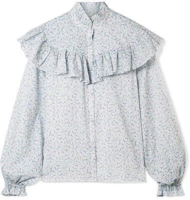 LoveShackFancy Erica Ruffled Floral-print Cotton-voile Blouse - Light blue