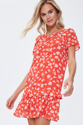 Forever 21 Chiffon Floral Tiered Dress