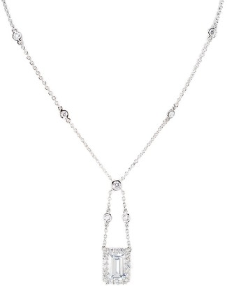 Cz By Kenneth Jay Lane Look of Real Silvertone & Cubic Zirconia Swing Flush Mount Pendant Necklace