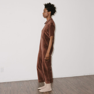 Base Range Brown Velours Suru Jumpsuit - medium | brown - Brown/Brown