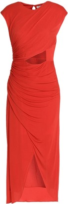 Halston Wrap-effect Cutout Chiffon Midi Dress