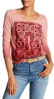 Lucky Brand 3/4 Sleeve Knit Front Embroidery Linen Blend Blouse
