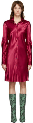 Dries Van Noten Pink Satin Shirt Dress