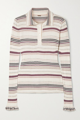 Adam Lippes Striped Ribbed Silk And Cashmere-blend Polo Shirt - White