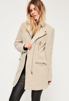 Missguided Collarless Biker Coat Nude