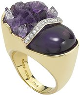 Kara Ross Split Petra Ring with Amethyst and Diamonds set in 18k Gold