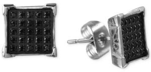 Macy's Men's Black Diamond Earrings (1/4 ct. t.w.) in Stainless Steel